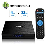 Android TV Box, T9 Android 8.1 4GB RAM/32GB ROM RK3328 Quad-Core Media Box Soporte...