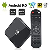 Android TV Box,【4GB RAM + 64GB ROM】Smart TV Box Android 9.0, Dual WiFi 2.4GHz /...