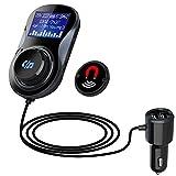 Transmisor FM Coche Manos Libres Bluetooth Adaptador de Radio, Pantalla LED de 1.44...