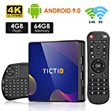 Android 9.0 TV Box【4G+64G】con Mini Teclado inalámbirco con touchpad RK3318...