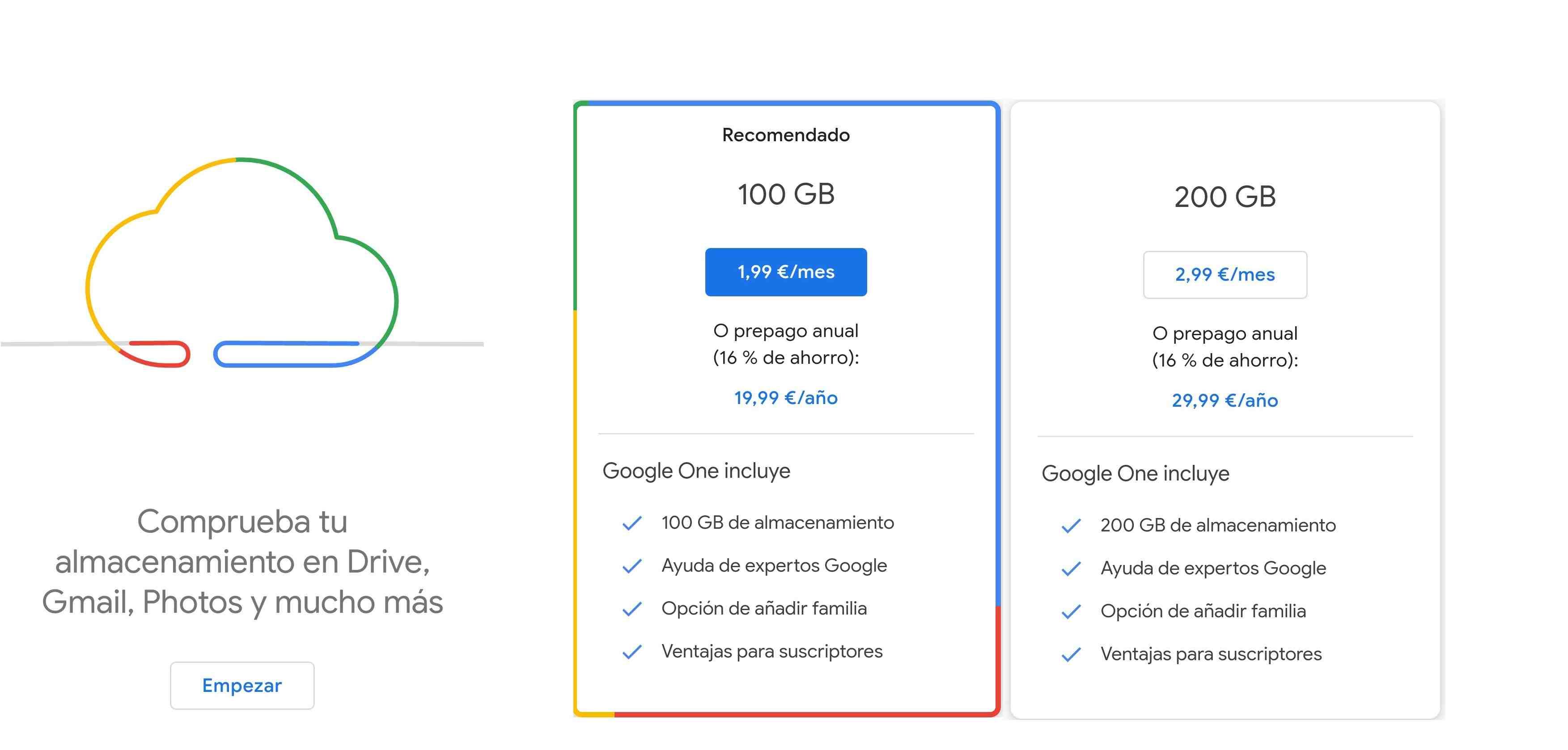 Google One precio